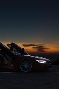 240x320 Sports Car Sunset By Beach 5k