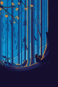 Squirrel Illustration Artwork Forest Trees Blue Sky