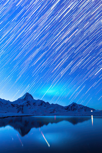 240x400 Star Trails Snow Mountains 4k