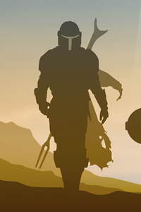 1242x2688 Star Wars The Mandalorian Minimalist 4k