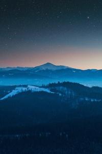 Starry Night Sky Evening Blue Landscape 4k