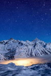 480x854 Starry Night Snow Covered Mountains 4k