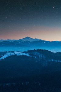 Stars In The Sky Foggy Season Forest Mountains 4k