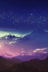 540x960 Stars Landscape Digital Art 4k