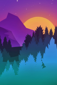 240x400 Stars Mountains Trees Colorful Minimalist Artwork