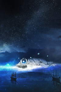 Stellar Astronaut Dream Fantasy Boats Artwork