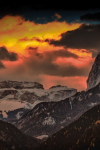 Stock Nature Golden Hours Rocks Mountains Orange Sky 4k