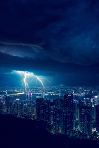 Storm Night Lightning In City 4k