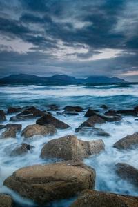 Storm Sea Rocks Long Exposure