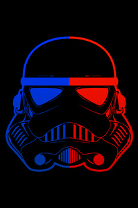 320x480 Stormtrooper Blue Red Mask Minimal 8k