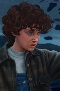 1242x2688 Stranger Things Eleven Artwork