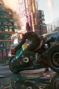 1242x2688 Street Biker Cyberpunk 2077