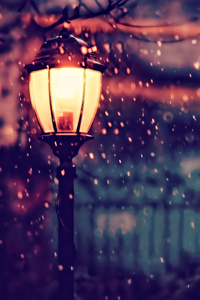Street Light Winter 4k