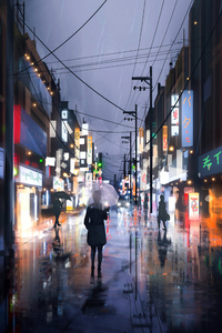 Street Raining Umbrella Girl 4k