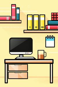 1440x2560 Student Workstation Desk Computer Books Minimalism 10k