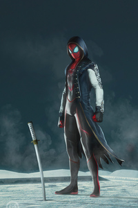 1242x2688 Suit Morph Spiderman 5k