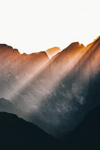 1080x1920 Sun Beams Over Mountains