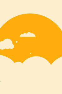 Sun In Clouds Minimalism 4k