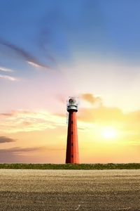Sun Lighthouse Sky Clouds 5k