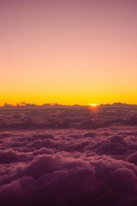 Sun Rises Over The Clouds From On Top Of Mount Fuji 5k