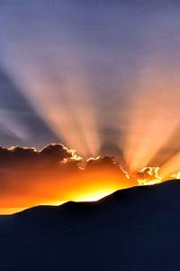 Sunbeams Horizon Nature Landscape 5k