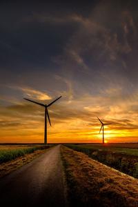 Sunrise Wind Turbine Road Sky 8k