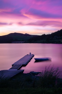 1440x2960 Sunset At Ladybower Reservoir Pier Side 5k