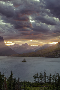 1080x2280 Sunset At St Mary Lake Glacier National Park 5k