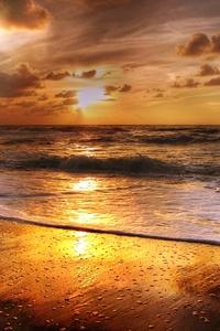 Sunset Beach Sea Sun Clouds