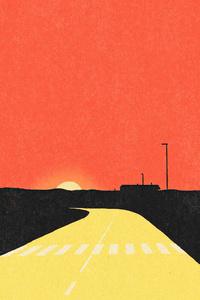320x480 Sunset Evening Road Desert 5k