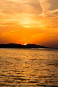 Sunset Island Mountains Sea