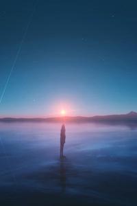 Sunset Meteors Stars Reflection