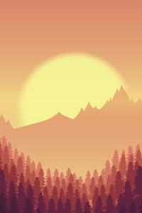 240x400 Sunset Minimal Mountains Trees 8k