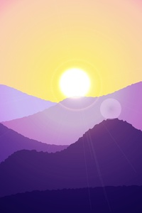 360x640 Sunset Mountain Minimal Art 4k