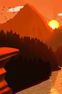 Sunset Mountains Mimimalist