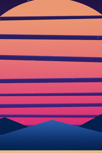 Sunset Mountains Minimalism Retrowave 5k