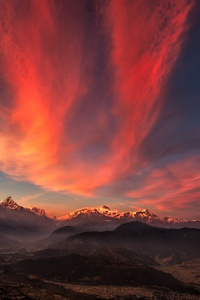 Sunset Of Tibet Mountains