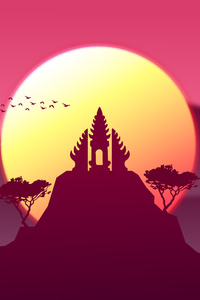 1440x2560 Sunset On A Temple 10k