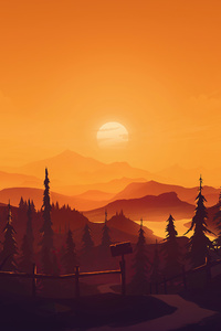 1440x2960 Sunset On Mountains Minimal Art 4k