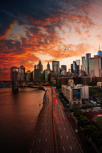 Sunset Over Manhattan Bridge