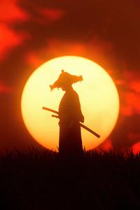 480x854 Sunset Ronin Ghost Of Tsushima
