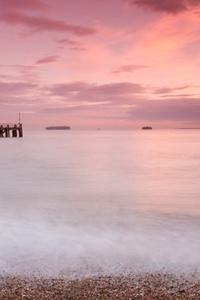 Sunset Shore Beautiful Sky Nature 5k