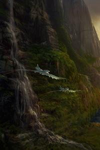 480x854 Sunset Vallery Dragons 5k