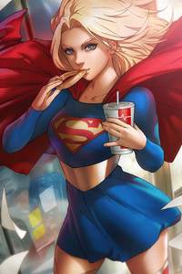 1242x2688 Supergirl Eating Cookie