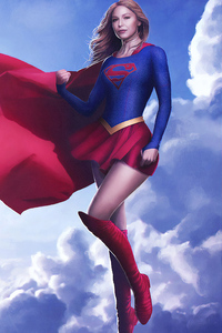 1242x2688 Supergirl Flying Art