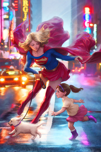240x320 Supergirl On Walk 4k