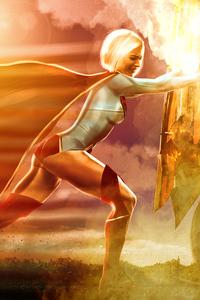 Supergirl Pushing Truck 4k