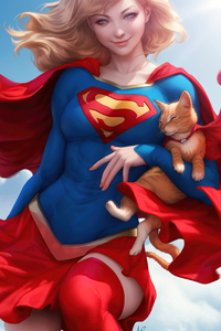 800x1280 Supergirl With Cat