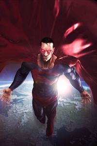 Superman In The Space Red Cape Flying Artwork 8k