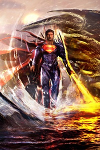 Superman Man Of Steel With Dragon Artwork 5k